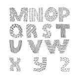 Vector la raccolta con la sequenza strutturata disegnata a mano delle lettere dalla m. alla Z Insieme educativo Immagine Stock Libera da Diritti