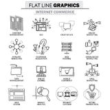 Vector la raccolta dell'icona del concetto del commercio di Internet Fotografia Stock