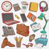 Vector la raccolta dell'illustrazione degli scarabocchi disegnati a mano degli oggetti business e degli elementi dell'ufficio Fotografie Stock Libere da Diritti