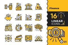 Vector la raccolta delle icone del profilo di finanza, contante Outl moderno Fotografie Stock Libere da Diritti