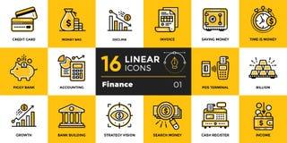 Vector la raccolta delle icone del profilo di finanza, contante Outl moderno Immagini Stock Libere da Diritti