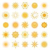 Vector la raccolta delle icone del sole su fondo bianco Immagini Stock Libere da Diritti