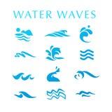 Vector la raccolta delle icone dell'onda di acqua piana isolate su fondo bianco Immagine Stock Libera da Diritti