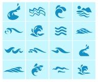 Vector la raccolta delle icone dell'onda di acqua piana isolate su fondo blu Fotografia Stock Libera da Diritti