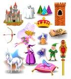 Vector la raccolta delle icone e dei caratteri di fiaba come la strega, il nano, castello Fotografie Stock