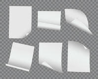 Vector la raccolta di carta piegata ed arricciata realistica dello spazio in bianco su trasporto Immagini Stock Libere da Diritti