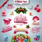 Vector la raccolta di festa per un tema di Natale con gli elementi 3d su chiaro fondo Fotografia Stock Libera da Diritti