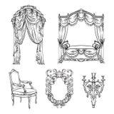 Vector la raccolta di mobilia barrocco resa a stile disegnato disponibile royalty illustrazione gratis