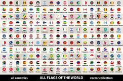 Vector la raccolta di tutte le bandiere del mondo nella progettazione circolare, sistemate in ordine alfabetico, con i colori ori illustrazione vettoriale
