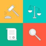 Vector la raccolta o l'insieme delle icone della giustizia e di legge Fotografia Stock