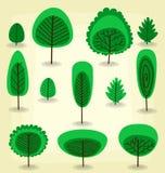 Vector la raccolta piana del modello dell'albero del fumetto nello stile astratto illustrazione di stock