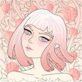 Vector la ragazza abbastanza dai capelli rossi di anime su un alchechengio di autunno del fondo royalty illustrazione gratis