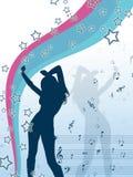 Vector la ragazza della scaletta con le stelle e le note di musica Fotografia Stock Libera da Diritti