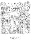 Vector la ragazza dello zentangl dell'illustrazione con le lentiggini che si siedono nei fiori sull'erba con un fox terrier del c royalty illustrazione gratis