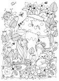 Vector la ragazza di Zen Tangle dell'illustrazione con le lentiggini nascoste dietro un fungo illustrazione di stock