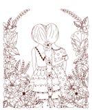 Vector la ragazza nel telaio del fiore, lo scarabocchio, i fiori, sputo dello zentangl dell'illustrazione indietro illustrazione vettoriale