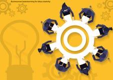 Vector la reunión de reflexión del hombre de negocios para el diseño plano de la creatividad de las ideas stock de ilustración