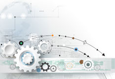 Vector la rueda de engranaje del ejemplo, los hexágonos y placa de circuito, tecnología digital de alta tecnología e ingeniería stock de ilustración