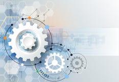 Vector la rueda de engranaje del ejemplo, los hexágonos y placa de circuito, tecnología digital de alta tecnología e ingeniería