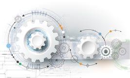 Vector la ruota di ingranaggio dell'illustrazione, esagoni e circuito, tecnologia digitale di Ciao-tecnologia e ingegneria Fotografie Stock Libere da Diritti