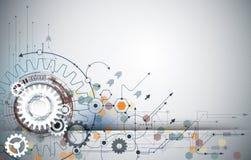 Vector la ruota di ingranaggio dell'illustrazione, esagoni e circuito, tecnologia digitale di Ciao-tecnologia e ingegneria illustrazione di stock