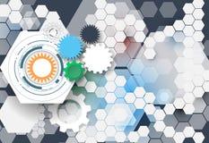 Vector la ruota di ingranaggio dell'illustrazione, esagoni e circuito, tecnologia digitale di Ciao-tecnologia e ingegneria Immagine Stock