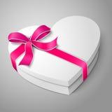 Vector la scatola bianca in bianco realistica di forma del cuore con Fotografie Stock