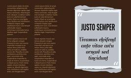 Vector la scatola di citazione con la casella di testo di stile di lerciume Fotografie Stock