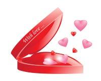 Vector la scatola rossa aperta luminosa in bianco realistica di forma del cuore con il Ca illustrazione vettoriale