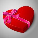 Vector la scatola rossa luminosa in bianco realistica di forma del cuore Fotografia Stock