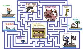 Vector la scena del gioco di avventura della cima del labirinto di arte del pixel illustrazione vettoriale
