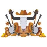 Vector la scena simmetrica con gli oggetti ad ovest selvaggi del cowboy come la palella, i soldi, le merci di febbre dell'oro, gl illustrazione di stock