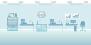 Vector la scena vuota interna del laboratorio scientifico nello stile piano royalty illustrazione gratis