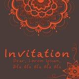 Vector la scheda dell'invito con l'elemento floreale Fotografie Stock Libere da Diritti