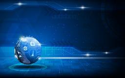 Vector la sfera blu astratta medica ed il fondo di concetto dell'innovazione di sanità Immagine Stock