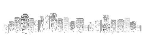 Vector la silueta aislada de la ciudad grande de la ciudad, rascacielos que construyen, centros de negocios Crepúsculo, puesta de stock de ilustración