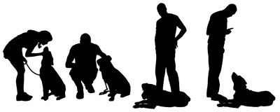 Vector la silueta de un hombre con un perro Fotos de archivo