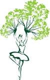 Vector la silueta que la bailarina del baile con la rama da Imagen de archivo libre de regalías