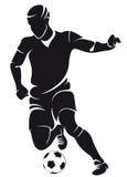 Vector la siluetta del giocatore di calcio (calcio) Fotografia Stock