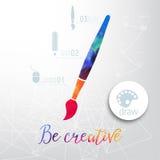 Vector la siluetta del pennello fatta dell'acquerello, le icone creative, concetto creativo dell'acquerello Concetto di vettore - Fotografie Stock