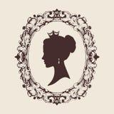 Vector la siluetta di profilo di una principessa nel telaio Fotografia Stock Libera da Diritti