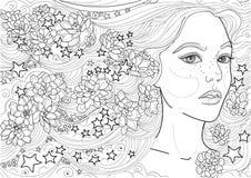 Vector la stella lunga dell'ornamento dei fiori dei capelli della ragazza leggiadramente immagini stock