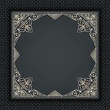 Vector la struttura floreale e geometrica del monogramma su fondo grigio scuro Elemento di progettazione del monogramma Fotografia Stock Libera da Diritti