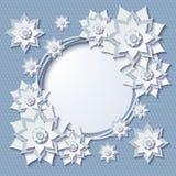 Vector la struttura rotonda d'annata con i fiori del blu 3d illustrazione di stock