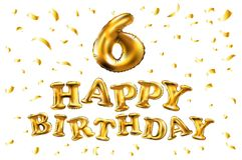 Vector la 6ta celebración del cumpleaños con los globos y el confeti de oro, brillos del oro Diseño del ejemplo para su saludo br Fotografía de archivo