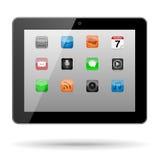 Tableta con los iconos del App Imagen de archivo
