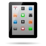 Tableta con los iconos del App Foto de archivo libre de regalías