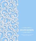 Vector la tarjeta azul de la invitación del vintage 3d con el modelo encrespado floral Foto de archivo libre de regalías