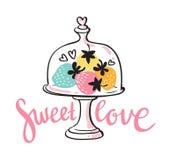 Vector la tarjeta colorida del desierto de la fresa con las letras elegantes - amor dulce Foto de archivo libre de regalías