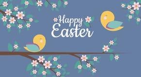 Vector la tarjeta con el diseño simple de pájaros lindos y de frase feliz de Pascua, libre illustration